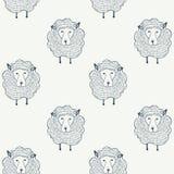 Modello senza cuciture delle pecore Priorità bassa animale Illustrazione di vettore Fotografie Stock Libere da Diritti