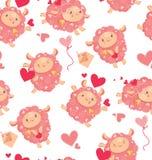 Modello senza cuciture delle pecore sveglie amorose per un giorno di biglietti di S. Valentino Pecore di salto felici del fumetto Immagini Stock