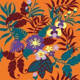 Modello senza cuciture delle piante tropicali, foglie tropicali, fiori e viti sull'arancia illustrazione di stock