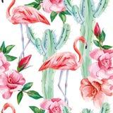 Modello senza cuciture delle rose dei cactus del fenicottero illustrazione vettoriale