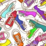Modello senza cuciture delle scarpe da tennis Immagine Stock Libera da Diritti