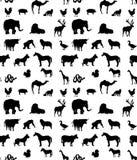 Modello senza cuciture delle siluette degli animali illustrazione vettoriale