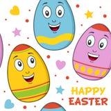 Modello senza cuciture delle uova di Pasqua del fumetto Fotografia Stock Libera da Diritti