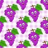 Modello senza cuciture delle uva da tavola del fumetto Fotografie Stock