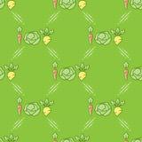 Modello senza cuciture delle verdure in una linea stile di arte illustrazione vettoriale