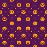 Modello senza cuciture delle zucche di Halloween Fotografie Stock Libere da Diritti