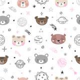 Modello senza cuciture dello spazio sveglio con gli orsi del fumetto Stampa astratta Fondo disegnato a mano della scuola materna  illustrazione di stock