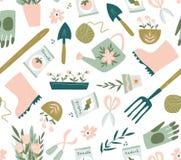 Modello senza cuciture dello strumento di giardino Illustrazione di vettore degli elementi di giardinaggio Giardinaggio felice illustrazione di stock