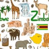Modello senza cuciture dello Zimbabwe di schizzo Immagini Stock