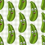 Modello senza cuciture dello zucchini verde del fumetto Immagini Stock Libere da Diritti