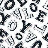 Modello senza cuciture di ABC con le lettere di alfabeto latino nello stile scandinavo monocromatico Illustrazione di vettore illustrazione vettoriale