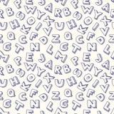 Modello senza cuciture di alfabeto dello scarabocchio. Fotografia Stock