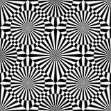 Modello senza cuciture di arte op di vettore astratto Ornamento in bianco e nero grafico monocromatico Illusione ottica a strisce illustrazione di stock