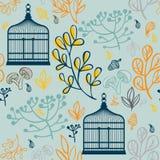 Modello senza cuciture di autunno con i birdcages d'annata Progettazione degli elementi della foglia Immagini Stock
