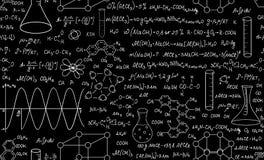 Modello senza cuciture di bello vettore educativo di chimica con i diagrammi, le formule e le attrezzature di laboratorio Priorit Fotografie Stock