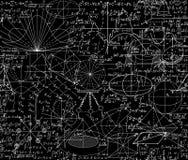 Modello senza cuciture di bello vettore matematico di vettore con le figure geometriche, formule ed equazioni, mescolate insieme illustrazione di stock