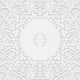Modello senza cuciture di bianco 3D, motivo arabo, fondo della mandala Fotografia Stock