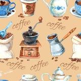 Modello senza cuciture di caffè degli elementi d'annata dell'insieme Immagine Stock