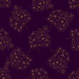 Modello senza cuciture di ciliegia dei brunch disegnati a mano del fiore Bloo di Sakura Fotografia Stock