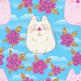Modello senza cuciture di colore pastello di stile della cima del fiore di zen del gatto fotografie stock