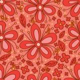 Modello senza cuciture di colore rosso del fiore Fotografia Stock