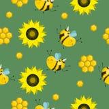 Modello senza cuciture di colore di vettore Composizione in estate con i favi, api, fiori Usilo come materiali di riempimento di  illustrazione di stock