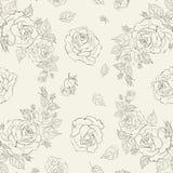 Modello senza cuciture di eleganza con le rose dei fiori Fotografie Stock Libere da Diritti