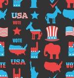 Modello senza cuciture di elezioni americane Elefante repubblicano e DEM Fotografia Stock