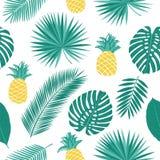 Modello senza cuciture di estate con gli ananas e le foglie tropicali Fotografia Stock