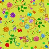 Modello senza cuciture di estate del ` s dei bambini con i fiori, le foglie, i turbinii e la farfalla illustrazione vettoriale