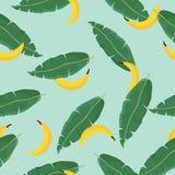 Modello senza cuciture di estate di vettore con le foglie di palma e le banane tropicali Vettore Struttura esotica Carta da parat Immagine Stock