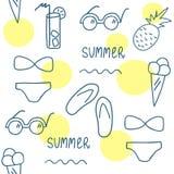 Modello senza cuciture di estate disegnata a mano Linea insieme di elementi Immagini Stock Libere da Diritti