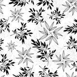 Modello senza cuciture di estate tropicale in bianco e nero delle foglie di vettore Fotografie Stock Libere da Diritti