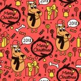 Modello senza cuciture di festa con il cane, la caramella, l'albero, i regali e la campana divertenti Nuovo anno 2018 illustrazione vettoriale