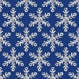 Modello senza cuciture di festa di vettore con i fiocchi di neve d'argento di scintillio Fotografie Stock Libere da Diritti