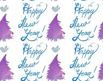Modello senza cuciture di festa di Natale dell'acquerello con gli alberi, gli uccelli e la copia del buon anno Tema del nuovo ann royalty illustrazione gratis