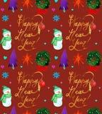 Modello senza cuciture di festa di Natale dell'acquerello con la copia del pupazzo di neve, degli alberi, dei cervi e del buon an illustrazione vettoriale