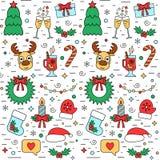 Modello senza cuciture di festa variopinta del nuovo anno e di Natale con gli attributi tradizionali nella linea stile Vettore illustrazione vettoriale