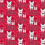 Modello senza cuciture di feste con il cane divertente Animali domestici del buon anno Fondo di Buon Natale Progettazione di inve Immagine Stock