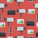 Modello senza cuciture di film Macchina fotografica, presa, film, immagine Immagine Stock