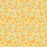 Modello senza cuciture di flourish astratto Fondo di ripetizione splendido con i riccioli verdi arancio e grigiastri ed i punti r Fotografie Stock Libere da Diritti