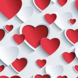Modello senza cuciture di giorno di biglietti di S. Valentino con i cuori rosso- di grey 3d Fotografia Stock