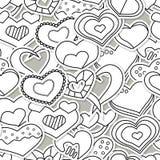 Modello senza cuciture di giorno di S. Valentino con i cuori in bianco e nero Immagine Stock Libera da Diritti