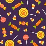 Modello senza cuciture di Halloween con le caramelle Illustrazione di vettore Immagini Stock