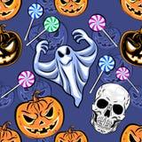 Modello senza cuciture di Halloween con una zucca Desig del partito di Halloween Fotografie Stock Libere da Diritti