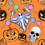Modello senza cuciture di Halloween con una zucca Desig del partito di Halloween Immagini Stock Libere da Diritti
