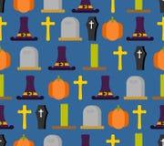 Modello senza cuciture di Halloween Fondo per la festa terribile Cappello royalty illustrazione gratis