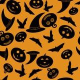 Modello senza cuciture di Halloween per fondo - zucche, cappello della strega, pipistrelli - vector l'illustrazione Fotografie Stock Libere da Diritti