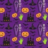 Modello senza cuciture di Halloween Struttura di ripetizione spaventosa con la bara, castello, zucca Fondo senza fine Vettore Fotografia Stock