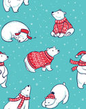 Modello senza cuciture di inverno con gli orsi polari nello stile del fumetto royalty illustrazione gratis